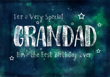 Grungy, Birthday Card for Grandad. A dark , grungy, textured watercolour birthday card for Grandad. The inscription reads `For a very special Grandad, Have the stock illustration