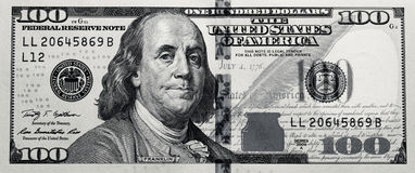 Grungy Black & White $100 Bill Stock Photo