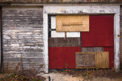 Grungy Boarded Garage Door Royalty Free Stock Photos