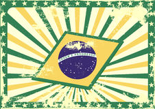 Grungy brazilian flag background Stock Images