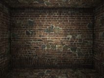 Grungy brick room interior Stock Images