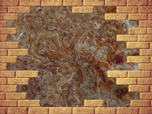 Grungy brown abstract background and yellow brick frame. Digitally generated image Vector Illustration