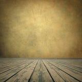 Grungy bruine muur en houten vloer Stock Foto