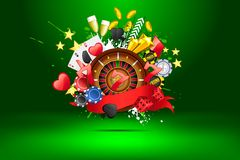 Grungy Casino. Illustration of casino object on abstract background Stock Photography