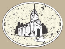 Grungy Chapel Church Drawing Illustration Stock Images