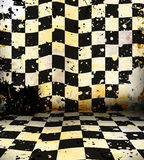 Grungy chessboard room Stock Image