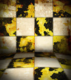 Grungy chessboard room Stock Photography