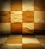 Grungy chessboard room Royalty Free Stock Image