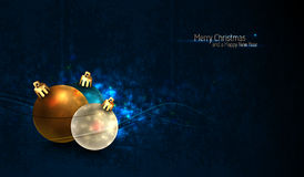 Grungy Christmas Background with Colorful Globes Royalty Free Stock Images