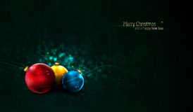 Grungy Christmas Background with Colorful Globes Stock Photo