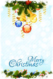 Grungy Christmas Card with Decorations Stock Image