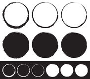 Grungy circle element set - Circles with smudged, smeared paint. Effect - Royalty free vector illustration Royalty Free Stock Photos