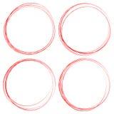Grungy cirkelelementen Geweven, gesmeerde schetsmatige cirkels voor hallo vector illustratie