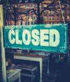 Grungy Closed Sign. Retail Image Of Grungy Vintage Closed Sign In Furniture Boutique Store Royalty Free Stock Image