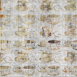 Grungy coffee cup wall art with vintage newspaper background Royalty Free Stock Image