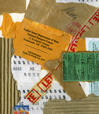 Grungy collage of paper mail items. Collage made of torn items of mail and cardboard stock image