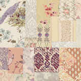 Grungy collage of shabby chic vintage wallpapers Stock Photos