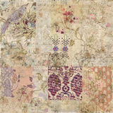 Grungy collage of shabby chic vintage wallpapers. Grungy and distressed collage of shabby chic whimsical vintage wallpapers Royalty Free Stock Photos