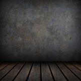 Grungy concrete en houten muur en vloer. stock illustratie
