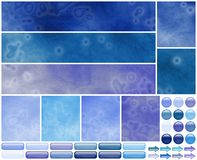Grungy cool azure violet web template elements Royalty Free Stock Images