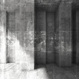 Grungy dark concrete wall background. 3d. Abstract square grungy dark concrete wall background. 3d render illustration, concrete texture Stock Image