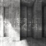 Grungy dark concrete wall background. 3d. Abstract square grungy dark concrete wall background. 3d render illustration, concrete texture royalty free illustration