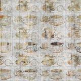 Grungy de muurkunst van de koffiekop met uitstekende krantenachtergrond Royalty-vrije Stock Afbeelding