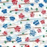 Grungy de stijl naadloos patroon van Sakura Chinse Japan English vector illustratie