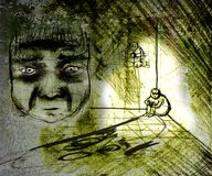 Grungy depressed man. A grunge drawing of a depressed man sitting in the corner of a room. Picture includes a drawing of the man's facial expression Royalty Free Stock Photos