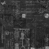 Grungy design för bakgrund för collage för svart tavla för tappningsvart royaltyfri illustrationer