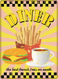 Grungy diner sign, retro style. Retro diner sign, with french fries. vector. fictional artwork vector illustration