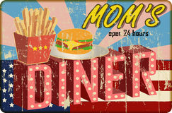 Grungy diner sign, retro style. Vector illustration stock illustration