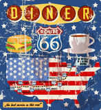 Grungy diner sign, retro style,. Vector illustration vector illustration