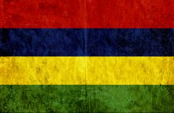 Grungy document vlag van Mauritius stock illustratie