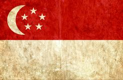 Grungy document vlag van Singapore vector illustratie