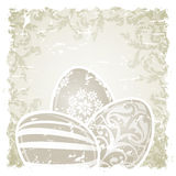 Grungy Easter Background with Decorated Eggs Royalty Free Stock Photography