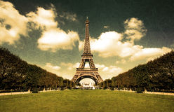 Grungy Eiffel tower postcard Royalty Free Stock Images