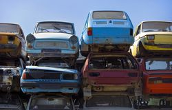 Grungy european cars. Colorful rusty grungy european cars Royalty Free Stock Image