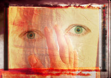 Grungy eyes. Background for love with a grungy hand and eyes Royalty Free Stock Photo