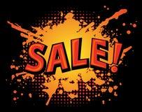 Grungy Farbe plätschern Fleck-Verkaufsfahne auf schwarzem Hintergrund Stockfotografie