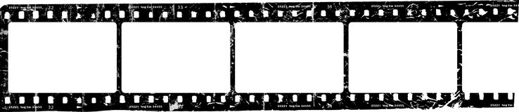 Grungy film strip, blank photo frames, free space for pictures,vector. Fictional artwork stock illustration