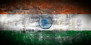 Grungy Flag of India on stone texture background closeup Royalty Free Stock Photo