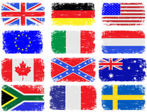 Grungy Flags. Grungy flag illustrations of the USA, Great Britain, South Africa, Australia and various European countries Stock Images
