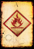 Grungy flammable image. Flammable image sign in a grungy background Stock Image
