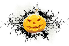 Grungy Floral Halloween Background with Pumpkin Royalty Free Stock Photography