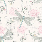 Grungy floral seamless pattern with dragonflies. Grunge floral seamless pattern with hand drawn roses buds and dragonflies Royalty Free Stock Image