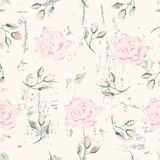 Grungy floral seamless pattern Stock Photos