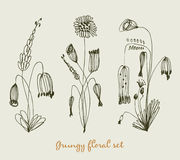 Grungy floral set. Collection of vintage bouquets. Compositions with sketchy flowers Royalty Free Stock Image