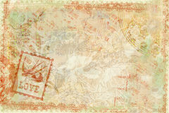 Grungy flourished background. A grungy antique floral background with musical notation Stock Image