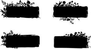 Grungy Foliage Designs. A set of grungy foliage designs, each unique Stock Images
